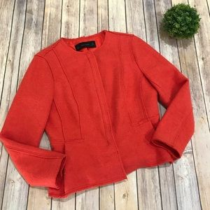 Zara Basic | Burnt Orange Peplum Zipper Blazer L